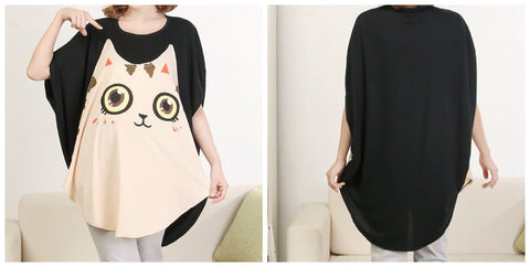 Summer Cat Printing Bat-wings T-shirt SP140583 - SpreePicky  - 3