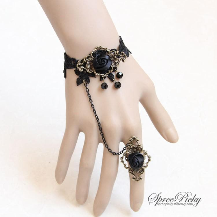 Vintage-style Rose Crystal Lace Bracelet Ring SP140562 - SpreePicky  - 1