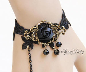 Vintage-style Rose Crystal Lace Bracelet Ring SP140562 - SpreePicky  - 3