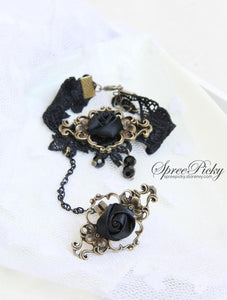 Vintage-style Rose Crystal Lace Bracelet Ring SP140562 - SpreePicky  - 5