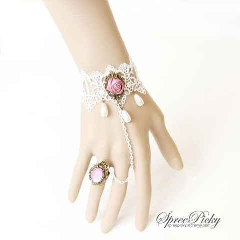 Vintage-style Rose Lace Bracelet Ring SP140502