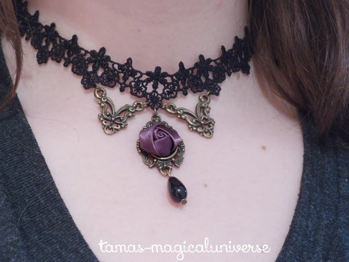 Vintage-style Rose Lace Necklace SP140565 - SpreePicky  - 1