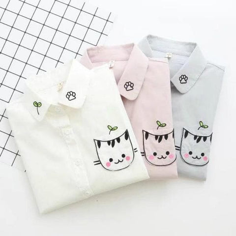 White/Blue/Pink Kawaii Cat Preppy Style Blouse SP1710994