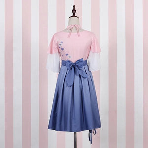 White/Blue Gradient Sakura Dress SP179798