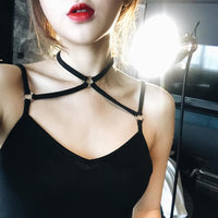 White/Grey/Black Bondage Choker Camisole Top SP179757