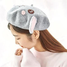 Load image into Gallery viewer, White/Grey Kawaii Bunny Beret SP1711331