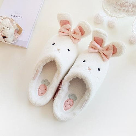 White/Pink Kawaii Bunny Fluffy Slippers SP1710960