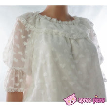 Load image into Gallery viewer, White Sweet Heart Dots Lace Top SP140494 Kawaii Aesthetic Fashion - SpreePicky