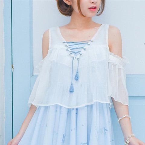 White Sweet Off-Shoulder Loose Shirt SP179878