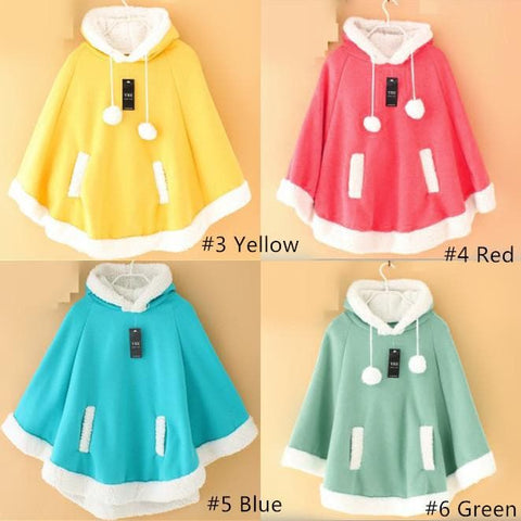[8 Colors] Winter Candy Fleece Cloak Coat Hoodie Cape SP141334 - SpreePicky  - 4