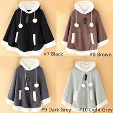 Load image into Gallery viewer, [8 Colors] Winter Candy Fleece Cloak Coat Hoodie Cape SP141334 - SpreePicky  - 5