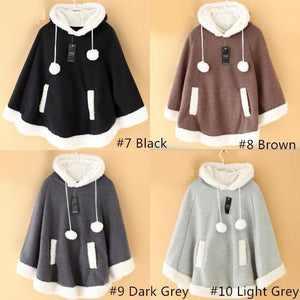 [8 Colors] Winter Candy Fleece Cloak Coat Hoodie Cape SP141334 - SpreePicky  - 5