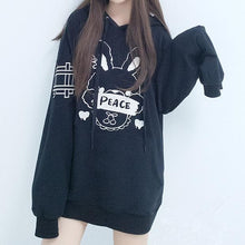 Load image into Gallery viewer, [Reservation] Black Cute Peace Bunny Hoodie Jumper SP1711338