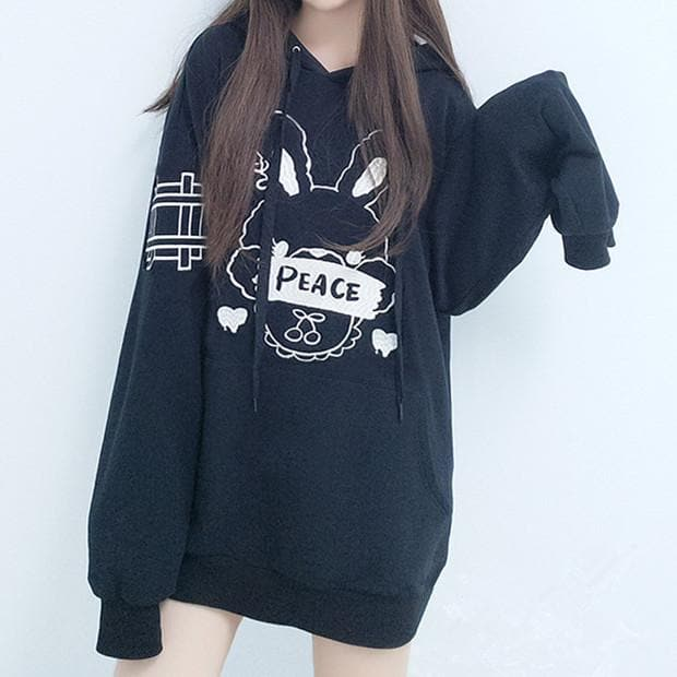 [Reservation] Black Cute Peace Bunny Hoodie Jumper SP1711338