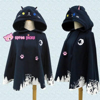 [Reservation] Black Night Fall Neko Hoodie Poncho Cape SP1711011