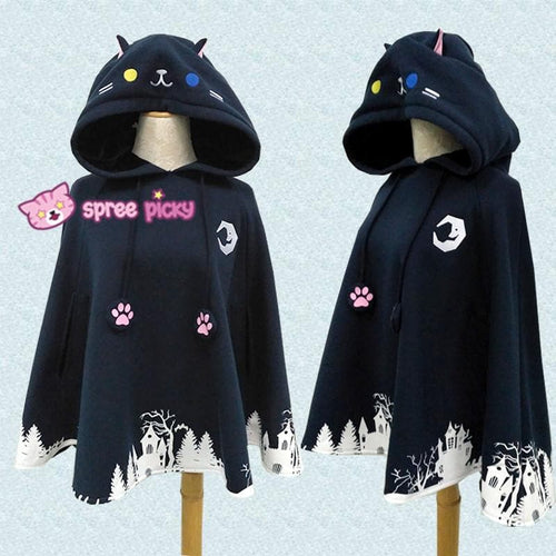 Black Night Fall Neko Hoodie Poncho Cape SP1711011