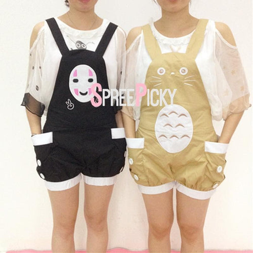 Kawaii Cartoon Totoro No Face Man Suspender Shorts SP1710290