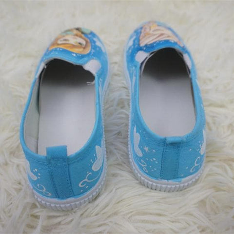 [Frozen]Hand Made Painting Frozen Queen Elsa and Princess Anna Canvas Flats Shoes SP140834 - SpreePicky  - 6