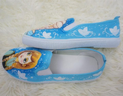 [Frozen]Hand Made Painting Frozen Queen Elsa and Princess Anna Canvas Flats Shoes SP140834 - SpreePicky  - 5
