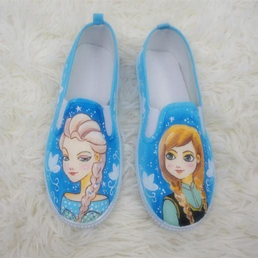 [Frozen]Hand Made Painting Frozen Queen Elsa and Princess Anna Canvas Flats Shoes SP140834 - SpreePicky  - 1