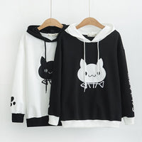 Black/White Cute Cat Pattern Printed Pullovers Sweatshirts S12972