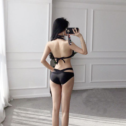 M/L/XL Black Laced One-Piece Swimsuit SP179825