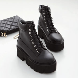 Black/Brown/White/Gray Square Heels Lace-up Platform Boots SP14544