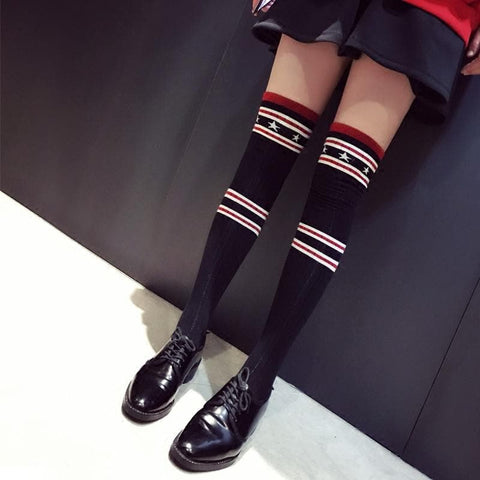 Star Striped Over Knee Stockings SP1711122