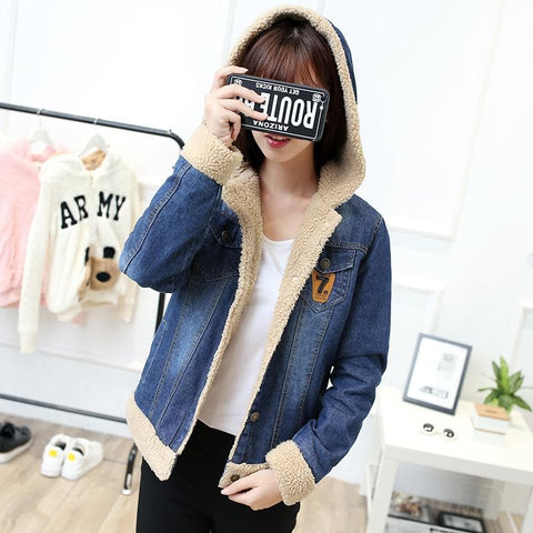 Sweet Fleece Denim Hoodie Coat SP1710830