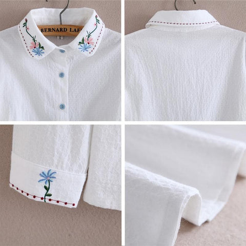 Sweet Flower Embroidery Collar Blouse SP1710813