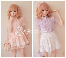 Load image into Gallery viewer, Sweet Lady Chiffon and Lace joint Bow Short Sleeve Blouse SP130276 - SpreePicky  - 1