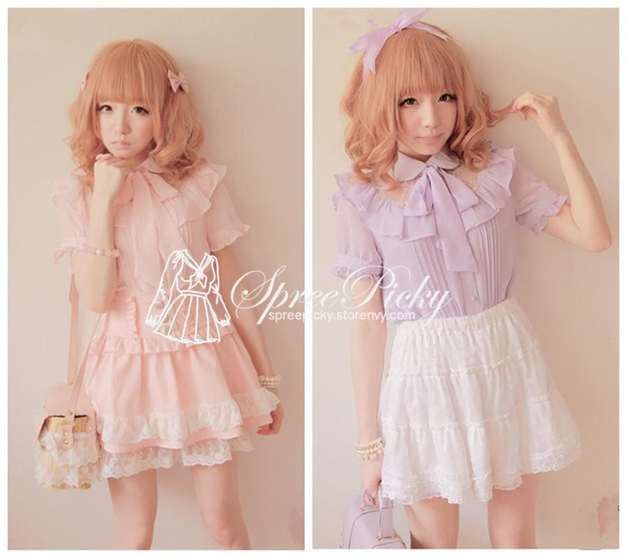 Sweet Lady Chiffon and Lace joint Bow Short Sleeve Blouse SP130276 - SpreePicky  - 1