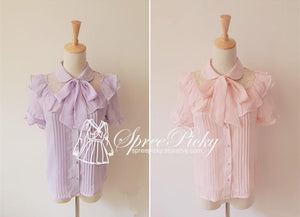 Sweet Lady Chiffon and Lace joint Bow Short Sleeve Blouse SP130276 - SpreePicky  - 2