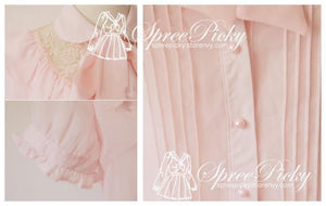 Sweet Lady Chiffon and Lace joint Bow Short Sleeve Blouse SP130276 - SpreePicky  - 3