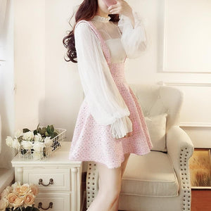 Sweet Lantern Sleeve Lace Suspender Skirt Set SP13180