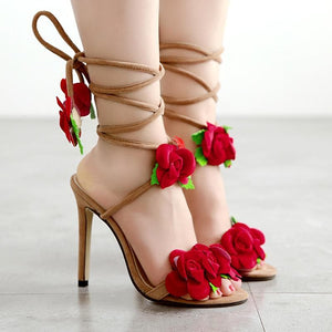 Sweet Rose Laced High Heels Sandals SP14083
