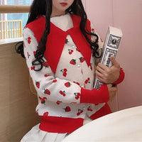 Sweet Strawberry Cherry Knitting Cardigan SP13207