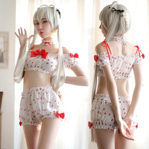 Sweet Strawberry Three-Piece Lingerie SP14117