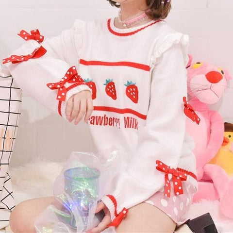 Sweet Bow Strawberry Sweater SP1710815