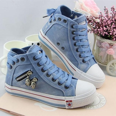Sky blue/Dark blue/Light blue Casual Canvas Shoes SP178681