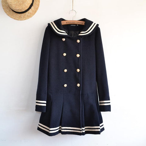 J-fashion Winter Sailor Woolen Coat SP130284 - SpreePicky  - 3