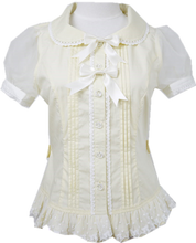Load image into Gallery viewer, Yellow/Mint Chess StoryPastel Cute Lolita Blouse SP130128 - SpreePicky  - 2