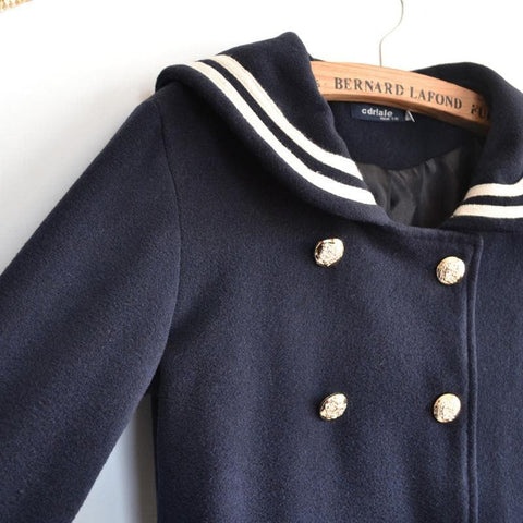 J-fashion Winter Sailor Woolen Coat SP130284 - SpreePicky  - 6