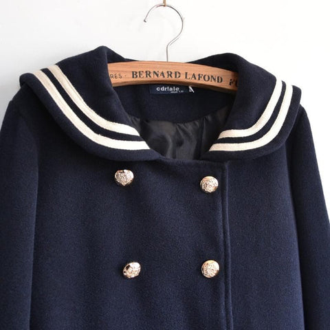 J-fashion Winter Sailor Woolen Coat SP130284 - SpreePicky  - 5