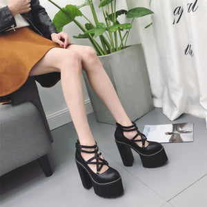 Black/White Pentagram Double Strap Platform High Heels Shoes S13076
