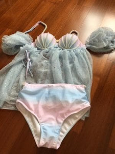 Free Shipping Pastel Fairy Mermaid Summer Swimsuit SP1811966