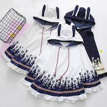 Load image into Gallery viewer, White/Grey/Navy Kawaii Bunny Ears Hoodie Poncho SP1710913