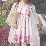 Sweet Strawberry Printing Condole Belt Dress + Gauze Coat Two Pieces SP179668