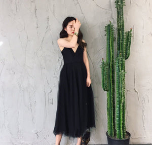 Black V Neck Tulle Dress, Black Dress - DelaFur Wholesale