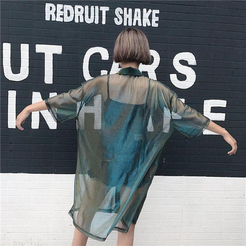 Harajuku Transparent Gradient Blouse Jacket SP179859